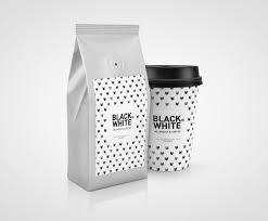 The small blue bottle at the top is the only color apart from the dark background and white text, which makes it stand out on such a small canvas, making sure people will remember it. Black Or White Coffee Concept On Packaging Of The World Creative Package Design Gallery