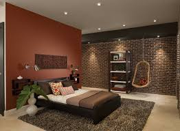 Captivating Bedroom Design With Red Accent Wall Color And Black Ladder  Shelves Decor Ideas