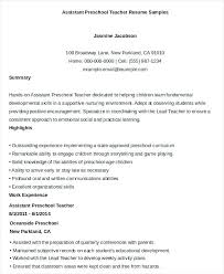 Preschool Teacher Assistant Resume Resume For Preschool Teacher