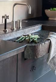 Rustic Modern Kitchen Rustic Modern Kitchen Features Modern Faucet And Hammered Stone