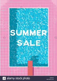 End of summer sale with text and retro 80s swimming pool vector