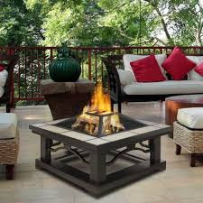 real flame crestone 34 in steel framed wood burning fire pit with outdoor coffee table integral