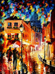 leonid afremov paint oil impressionism abstract scape outdoors autumn city gallery canvas original paintings art fine famous artist