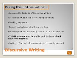 discursive writing a guide to unit overview today s learning  discursive writing during this unit we will be learning the features of discursive