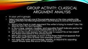 today s goals evaluate the final class media project ppt video  group activity classical argument analysis
