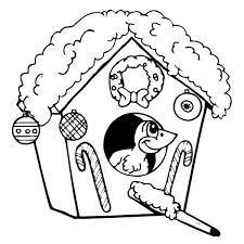 Small Picture Christmas Themed Bird House on Winter Season Coloring Page NetArt