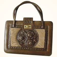 extra large hand tooled leather and cowhide purse mexico mint and kitchengarden purses ruby lane
