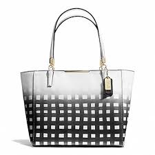 COACH f30118 MADISON GINGHAM SAFFIANO EAST WEST TOTE LIGHT GOLD WHITE BLACK