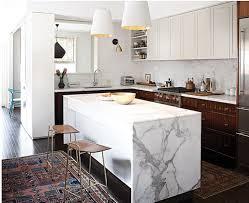 marble waterfall kitchen island counter