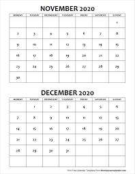 November December 2020 Calendar Monday Start Two Months