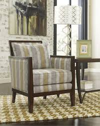 Blue And Brown Accent Chair Rectangular Geometry Pattern Gray Fabric Sofa Chair With Varnished