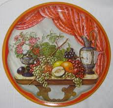 Daher Decorated Ware 11101 Tray Vintage Daher Decorated Ware Fruit Flowers Oval Tray Gold Trim Made 72