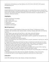 resume templates maintenance porter maintenance resume samples