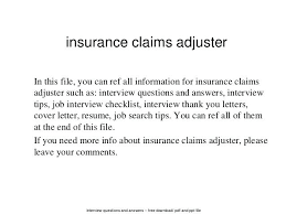 Cover Letter For Claims Adjuster Interview Questions And Answers