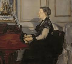 woman playing piano painting madame manet at the piano by edouard manet