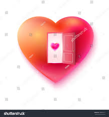 raster heart with open door and small heart at the door love invitation concept