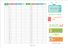 Save Money In A Year Chart Money Saving Challenge Chart Free Money Saving Challenge