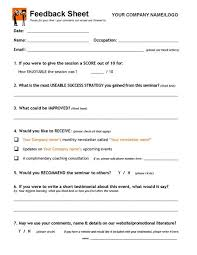 Sample Course Evaluation Form Custom Workshop Event Seminar FEEDBACK Form Counseling Social Work