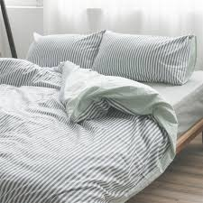 grey and white striped duvet cover reversible