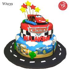 Mcqueen Car Themed Cakehyderabadbaby Boy 1st Birthday Cake