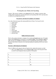 Transferable Skills Worksheet C A L L Job Search Worksheet English Esl Worksheets
