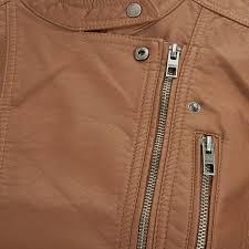 only women s freya faux leather biker jacket cognac image 3