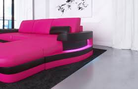 modern leather sofa with led lights an usb connection pink black