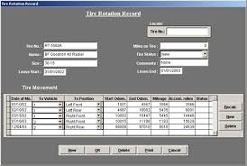 Vehicle Maintenance Software Tire Tracking