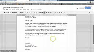 buisness letter template personal business letter format google documents youtube