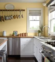 Kitchen, Pale Yellow Wall Color With White Kitchen Cabinet For Country  Styled Kitchen Ideas With