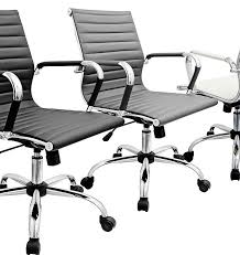 eames style grey faux leather office chair