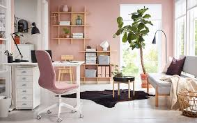 home office white. A Pink And White Home Office With Sit/stand SKARSTA Desk. G