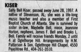 Obituary for Sally Bell KISER - Newspapers.com
