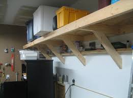 diy wall mounted wooden garage storage shelves design ideas