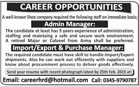 Admin Manager, Import Export Purchase Manager Job In Shoe Company 15 ...