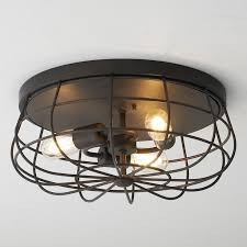cage ceiling light reminiscent of the old wire caged bathroom fans this ceiling light takes a modern spin on a vintage element