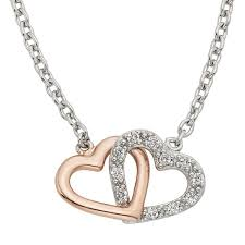 moody s signature sterling silver and rose plated 1 8ct diamond double heart pendant stock pxd2889