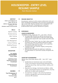 Entry Level Hotel Housekeeper Resume Sample Resume Genius