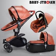 luxury 3 in 1 baby stroller pram pu leather pushchair sleeping basket car seat 360 rotation bidirectional baby trolley