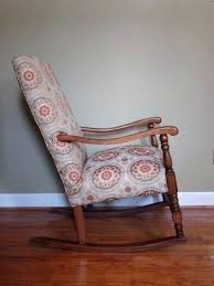 reupholstered rocking chair vintage upholstered platform chairs reupholster diy cushion