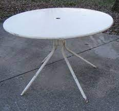 vintage round metal yard patio table