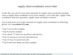 Logistics Coordinator Cover Letter Sample Logistics Cover Letter Supply Chain Management Coordinator