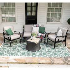 leisure made savannah 4 piece wicker patio conversation set with tan cushions