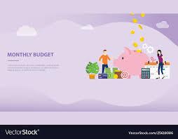 Monthly Budget Planning Monthly Budget Planning Concept With Saving Piggy