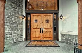 front french doorsCraftsman Front Door with exterior stone floors  Transom window