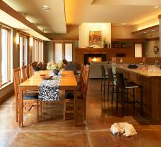 Kitchen And Dining Room Stained Concrete Floors Dining Room Modern With Dog Eat In Kitchen