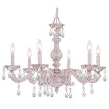 crystorama lighting group sutton antique white six light swarovski spectra crystal chandelier