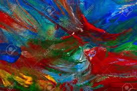 stock photo wet acrylic paint on canvas closeup