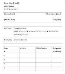 Sample Bid Sheets For Silent Auction Silent Auction Bid Sheets Pdf Ffshop Inspiration