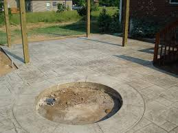 concrete patio with fire pit. Simple Pit Sun Buff Stamped Concrete Patio W Fire Pit Regarding Patios With Pits  Inspirations 11 Inside P